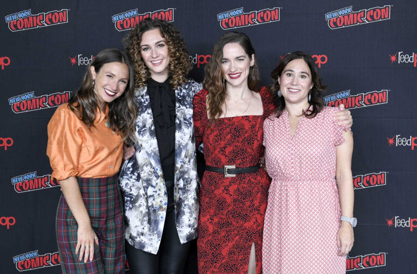 NEW YORK, NEW YORK - OCTOBER 05: Emily Andras, Melanie Scrofano, Dominique Provost-Chalkley and Katherine Barrell attends the press line at SYFY & IDW Entertainment's