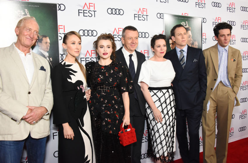 HOLLYWOOD, CALIFORNIA - NOVEMBER 16: (L-R) Charles Dance, Erin Doherty, Helena Bonham Carter, Peter Morgan, Olivia Colman, Tobias Menzies and Josh O'Connor attend AFI Fest: The Crown & Peter Morgan Tribute at TCL Chinese Theatre on November 16, 2019 in Hollywood, California. (Photo by Araya Diaz/Getty Images for Netflix)