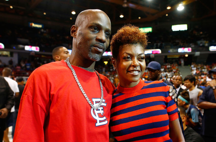 CHICAGO, IL - JULY 23: Rapper DMX and actress Taraji P. Henson pose for photos during week five of the BIG3 three on three basketball league at UIC Pavilion on July 23, 2017 in Chicago, Illinois. (Photo by Michael Hickey/BIG3/Getty Images)
