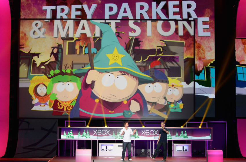 LOS ANGELES, CA - JUNE 04: Matt Parker and Trey Stone (R) introduce the game South Park: The Stick of Truth during the Microsoft Xbox press conference at the Electronic Entertainment Expo at the Galen Center on June 4, 2012 in Los Angeles, California. Thousands are expected to attend the annual three-day convention to see the latest games and announcements from the gaming industry. (Photo by Kevork Djansezian/Getty Images)