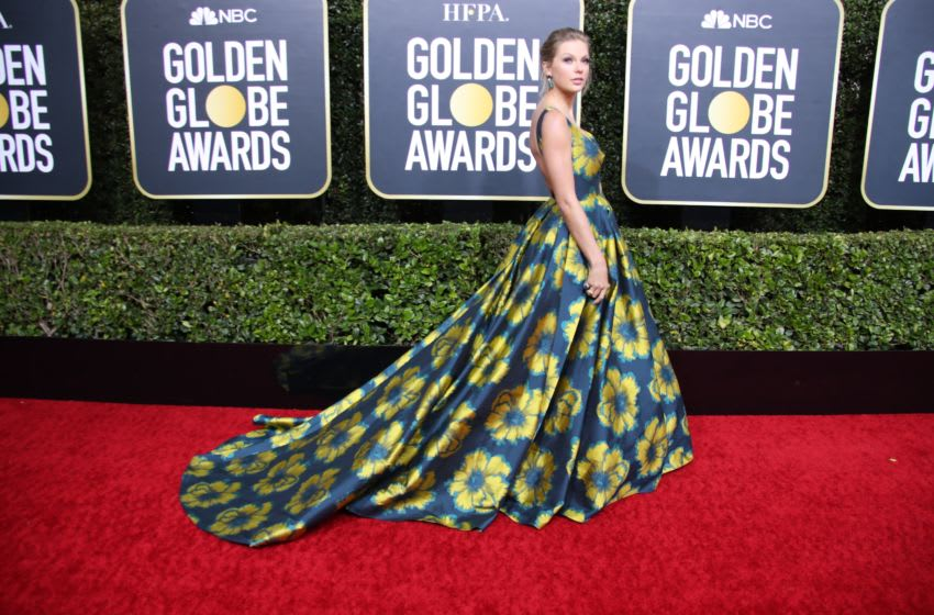 Jan 5, 2020; Beverly Hills, CA, USA; Taylor Swift arrives on the red carpet during the 77th Annual Golden Globe Awards at The Beverly Hilton Hotel. Mandatory Credit: Dan MacMedan-USA TODAY