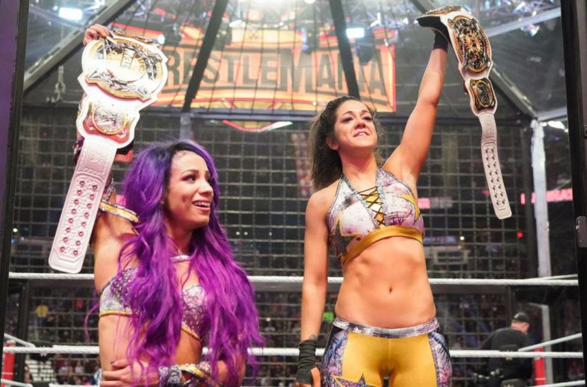 The Boss 'N' Hug Connection won the Women's Elimination Chamber Match to become the first-ever WWE Women's Tag Team Champions Photo Credit: WWE.com