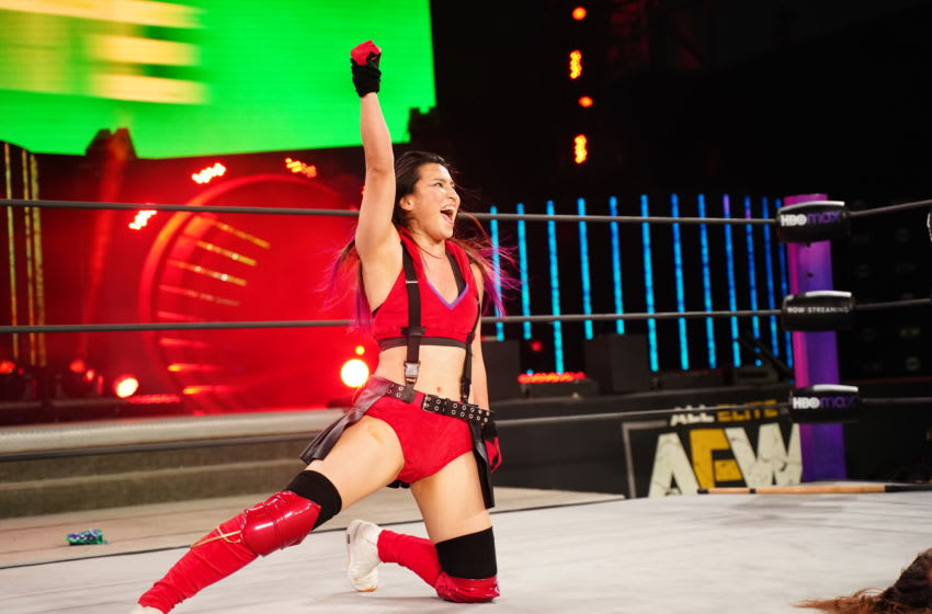 Hikaru Shida celebrates winning a match (photo courtesy of AEW)