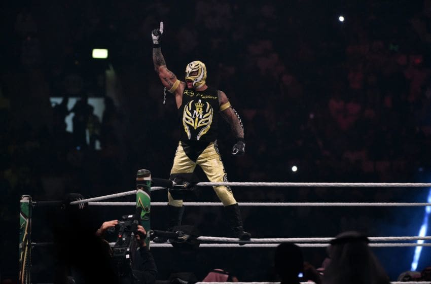 Rey Mysterio greets the crowd during the WWE World Cup Quarterfinal match as part of as part of the World Wrestling Entertainment (WWE) Crown Jewel pay-per-view at the King Saud University Stadium in Riyadh on November 2, 2018. (Photo by Fayez Nureldine / AFP) (Photo credit should read FAYEZ NURELDINE/AFP/Getty Images)