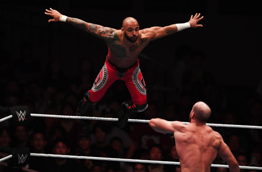TOKYO,JAPAN - JUNE 29: Ricochet and Cesaro compete during the WWE Live Tokyo at Ryogoku Kokugikan on June 29, 2019 in Tokyo, Japan. (Photo by Etsuo Hara/Getty Images)