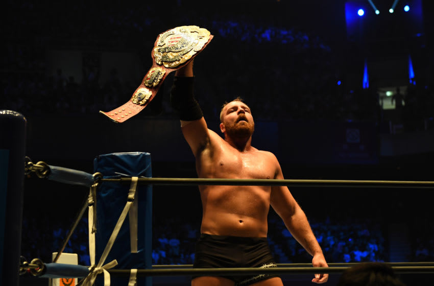 TOKYO, JAPAN – AUGUST 12:Jon Moxley lifts the belt during the New Japan Pro-Wrestling G1 Climax 29 at Nippon Budokan on August 12, 2019 in Tokyo, Japan.(Photo by Etsuo Hara/Getty Images)