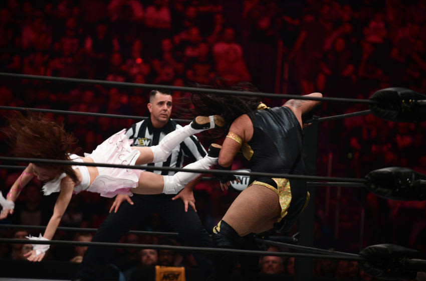 WASHINGTON, DC - OCTOBER 2: Nyla Rose, in black, a transgender woman, competes against female wrester Riho, in white, in the All Elite Wrestling Womens World Championship at the Capitol One Arena in Washington, D.C., October 2, 2019. Rose fights a cis-gender woman. At the end Riho defeated Rose. (Astrid Riecken For The Washington Post via Getty Images)