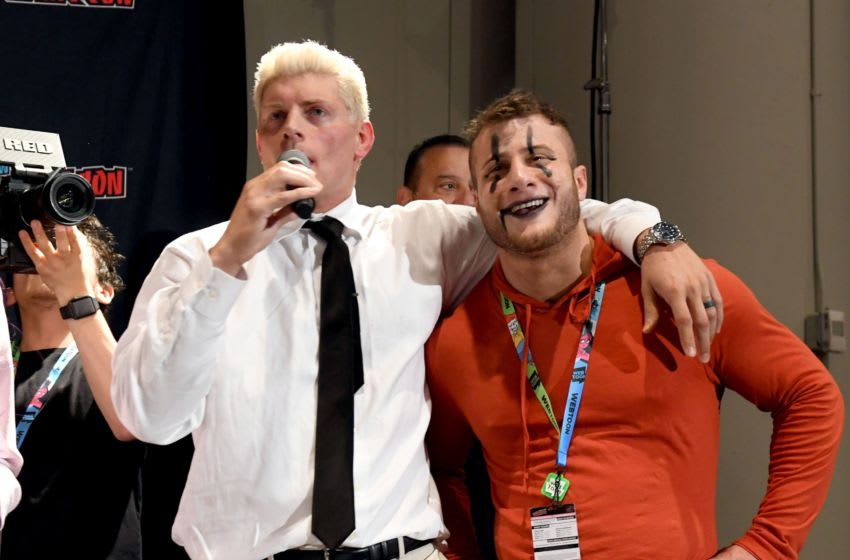 NEW YORK, NEW YORK - OCTOBER 04: (L-R) Cody Rhodes and Maxwell Jacob Friedman aka MJF make a surprise appearance during the All Elite Wrestling panel during 2019 New York Comic Con at Jacob Javits Center on October 04, 2019 in New York City. (Photo by Noam Galai/Getty Images for WarnerMedia Company)