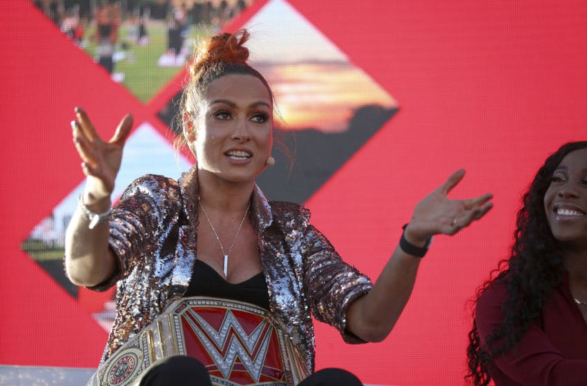 NEWPORT BEACH, CALIFORNIA - OCTOBER 21: WWE Raw champion Becky Lynch speaks at the espnW Women + Sports Summit held at The Resort at Pelican Hill on October 21, 2019 in Newport Beach, California. (Photo by Meg Oliphant/Getty Images)