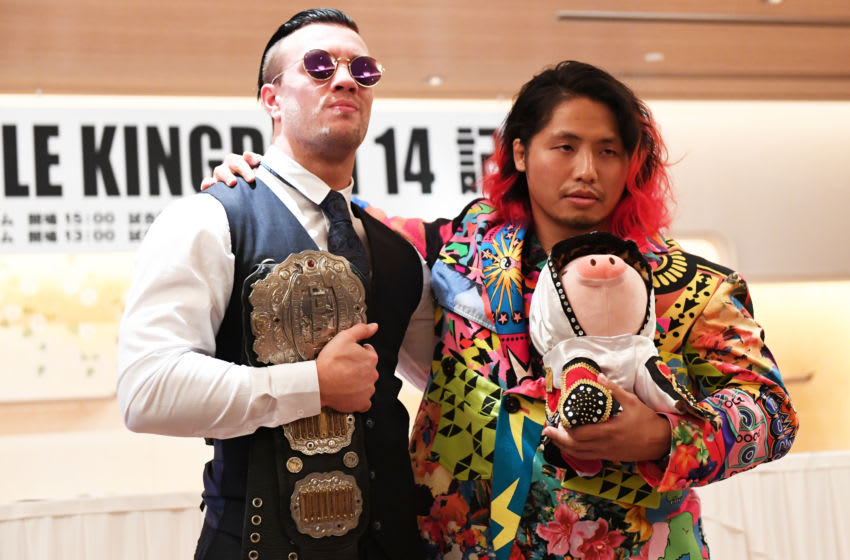 TOKYO, JAPAN - NOVEMBER 05: Will Ospreay and Hiromu Takahashi pose for photographs during NJPW Wrestle Kingdom 14 in Tokyo Dome press Conference on November 05, 2019 in Tokyo, Japan. (Photo by Etsuo Hara/Getty Images)