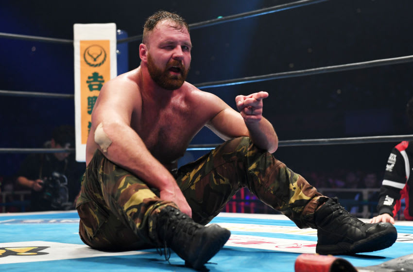 OSAKA, JAPAN - FEBRUARY 09: Jon Moxley reacts during the New Japan Pro-Wrestling 'The New Beginning in Osaka' at Osaka-Jo Hall on February 09, 2020 in Osaka, Japan. (Photo by Etsuo Hara/Getty Images)