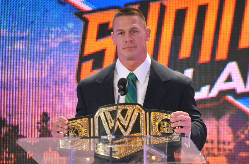 BEVERLY HILLS, CA - AUGUST 13: WWE Champion John Cena attends the WWE SummerSlam press conference at Beverly Hills Hotel on August 13, 2013 in Beverly Hills, California. (Photo by Angela Weiss/Getty Images)