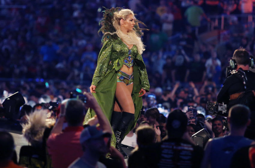 Charlotte Flair walks to the ring during WrestleMania 33 on Sunday, April 2, 2017 at Camping World Stadium in Orlando, Fla. (Stephen M. Dowell/Orlando Sentinel/TNS via Getty Images)