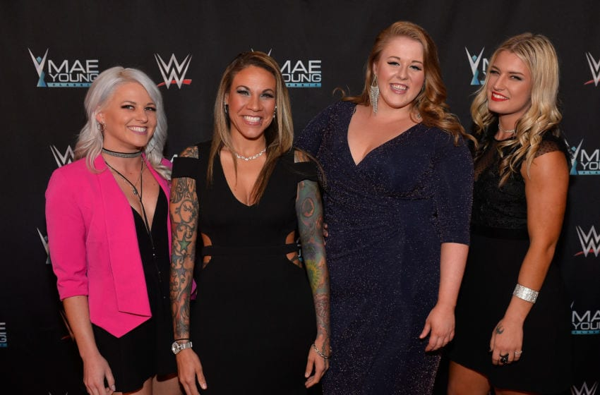 LAS VEGAS, NV - SEPTEMBER 12: (L-R) Mae Young Classic contestants Candice LaRae, Mercedes Martinez, Piper Niven and Toni Storm appear on the red carpet of the WWE Mae Young Classic on September 12, 2017 in Las Vegas, Nevada. (Photo by Bryan Steffy/Getty Images for WWE)