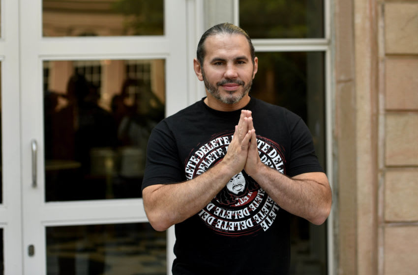 MUMBAI, INDIA - DECEMBER 5: WWE Superstar Matt Hardy plays football with children from Special Olympics Bharat at ITC Maratha, Andheri on December 5, 2018 in Mumbai, India. (Photo by Satyabrata Tripathy/Hindustan Times via Getty Images)