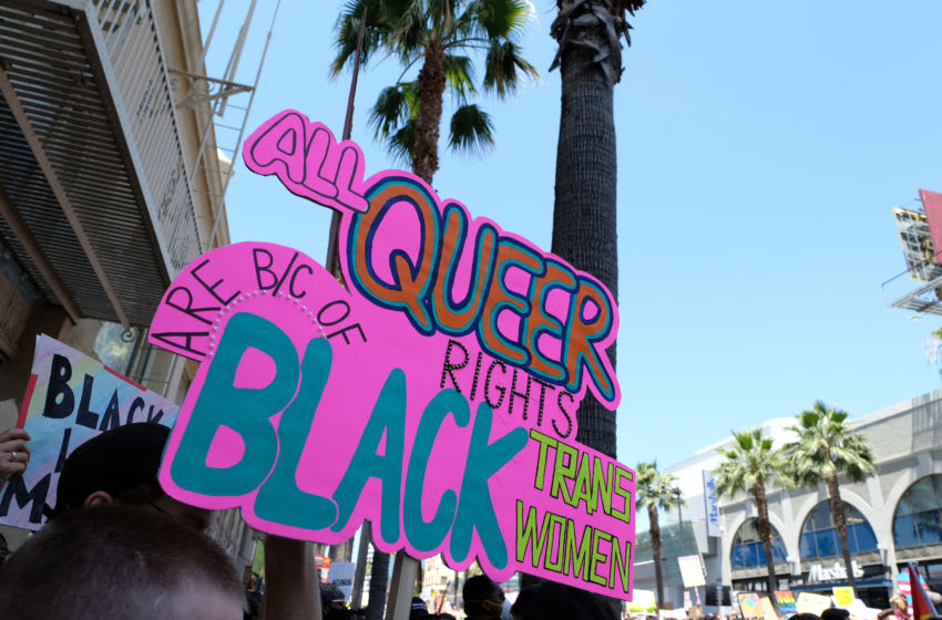 LOS ANGELES, CALIFORNIA - JUNE 14: A sign reading