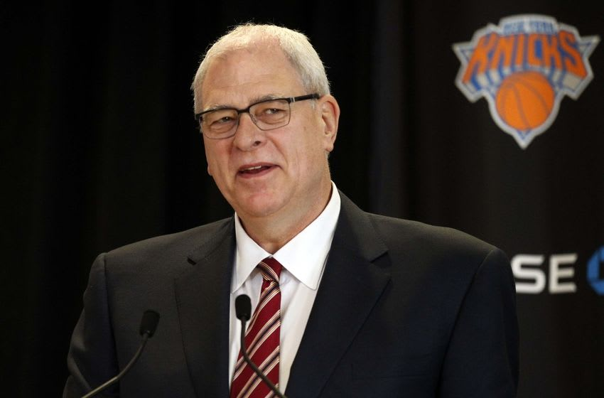 Mar 18, 2014; New York, NY, USA; New York Knicks new president of basketball operations Phil Jackson at a press conference at Madison Square Garden. Mandatory Credit: William Perlman/THE STAR-LEDGER via USA TODAY Sports