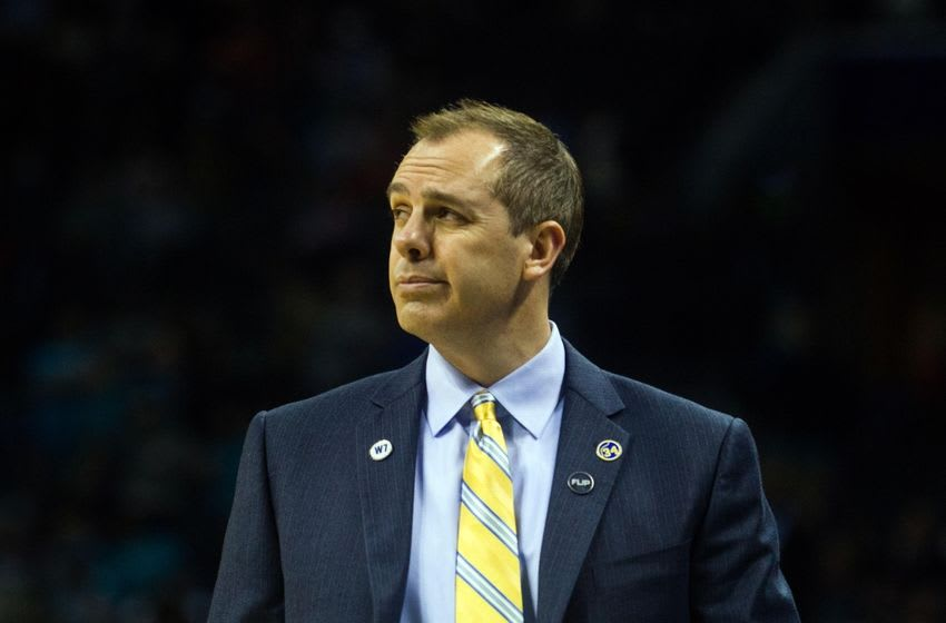 Mar 4, 2016; Charlotte, NC, USA; Indiana Pacers head coach Frank Vogel looks on after a turnover in the second half against the Charlotte Hornets at Time Warner Cable Arena. The Hornets defeated the Pacers 108-101. Mandatory Credit: Jeremy Brevard-USA TODAY Sports