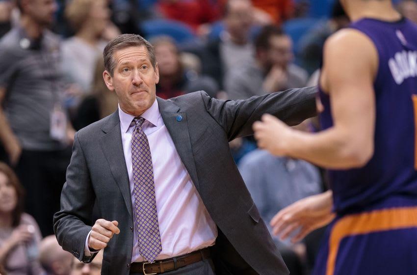 Jan 17, 2016; Minneapolis, MN, USA; Phoenix Suns head coach Jeff Hornacek in the first quarter against the Minnesota Timberwolves at Target Center. Mandatory Credit: Brad Rempel-USA TODAY Sports