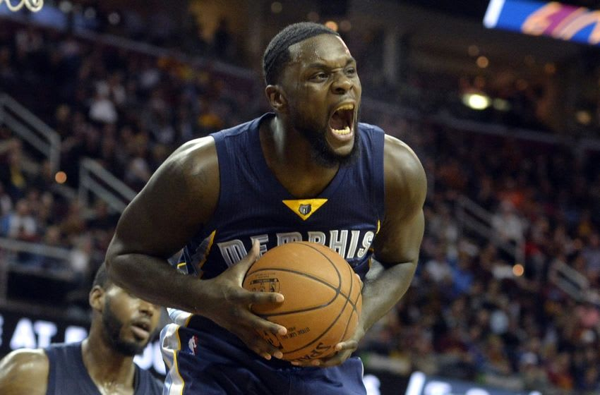 Mar 7, 2016; Cleveland, OH, USA; Memphis Grizzlies forward Lance Stephenson (1) rebounds in the fourth quarter against the Cleveland Cavaliers at Quicken Loans Arena. Mandatory Credit: David Richard-USA TODAY Sports