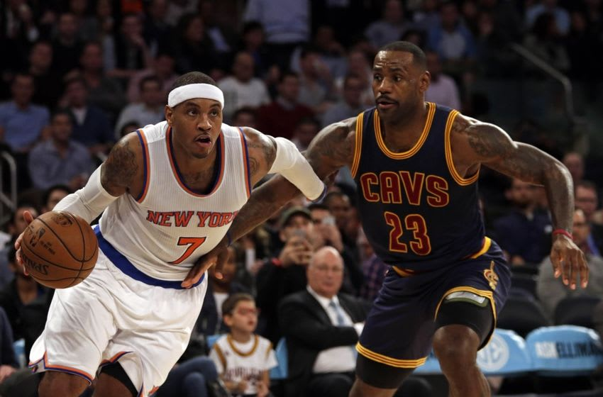Nov 13, 2015; New York, NY, USA; New York Knicks forward Carmelo Anthony (7) drives past Cleveland Cavaliers forward LeBron James (23) during the third quarter of an NBA basketball game at Madison Square Garden. Mandatory Credit: Adam Hunger-USA TODAY Sports
