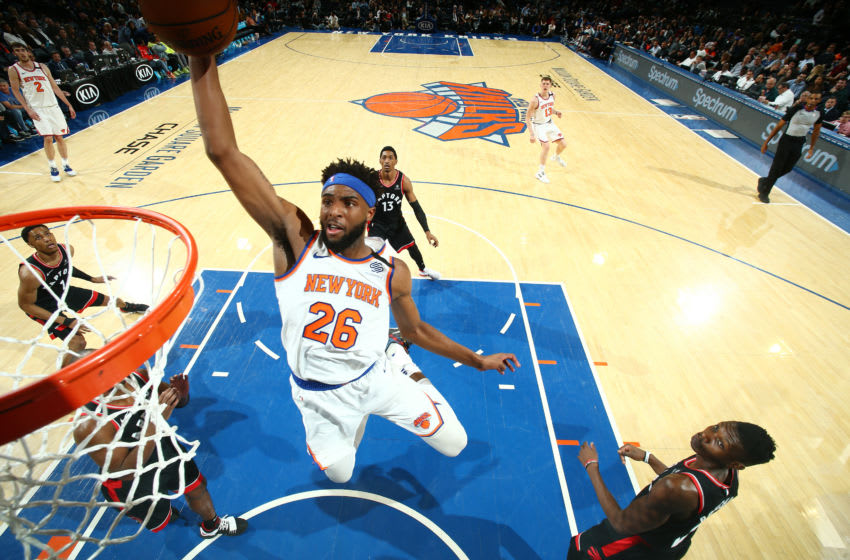 NEW YORK, NY MARCH 28: Mitchell Robinson #26 of the New York Knicks dunks the ball against the Toronto Raptors on March 28, 2019 at Madison Square Garden in New York City, New York. NOTE TO USER: User expressly acknowledges and agrees that, by downloading and or using this photograph, User is consenting to the terms and conditions of the Getty Images License Agreement. Mandatory Copyright Notice: Copyright 2019 NBAE (Photo by Nathaniel S. Butler/NBAE via Getty Images)