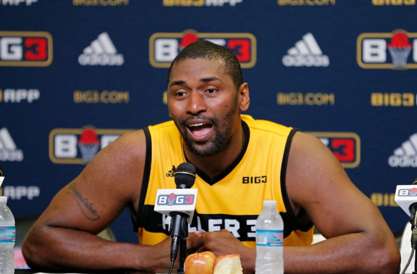 Metta World Peace during a press conference (Photo by Mike Ehrmann/Big 3/Getty Images)