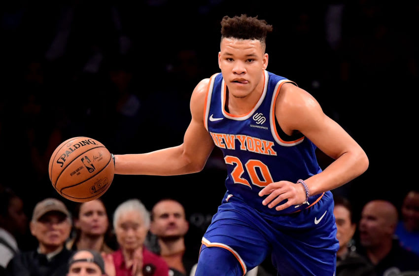 NEW YORK, NY - OCTOBER 03: Kevin Knox #20 of the New York Knicks in action against the Brooklyn Nets during a preseason game at Barclays Center on October 3, 2018 in New York City. NOTE TO USER: User expressly acknowledges and agrees that, by downloading and or using this photograph, User is consenting to the terms and conditions of the Getty Images License Agreement. (Photo by Steven Ryan/Getty Images)