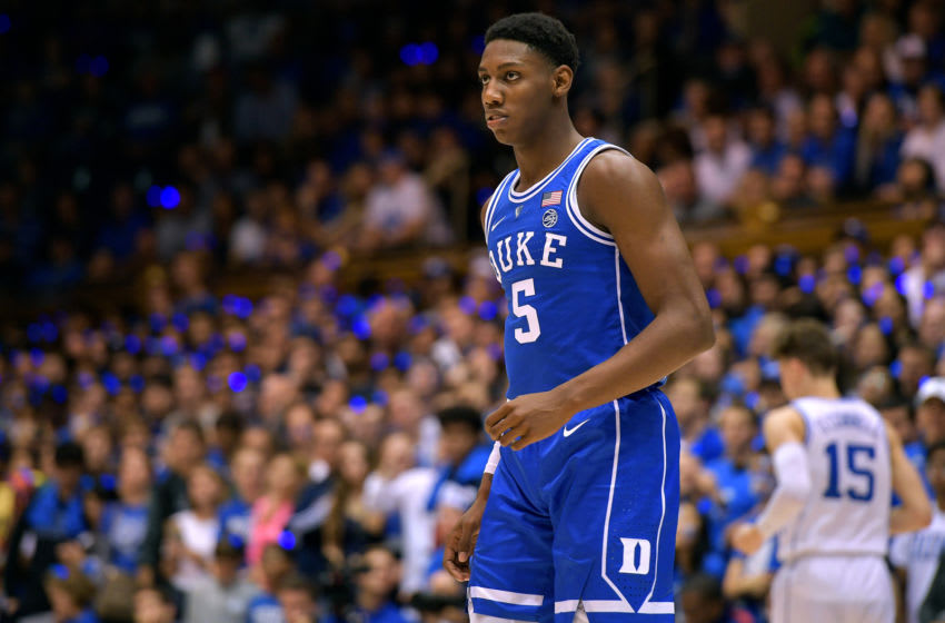 DURHAM, NC - OCTOBER 19: RJ Barrett #5 of the Duke Blue Devils looks on during Countdown to Craziness at Cameron Indoor Stadium on October 19, 2018 in Durham, North Carolina. (Photo by Lance King/Getty Images)