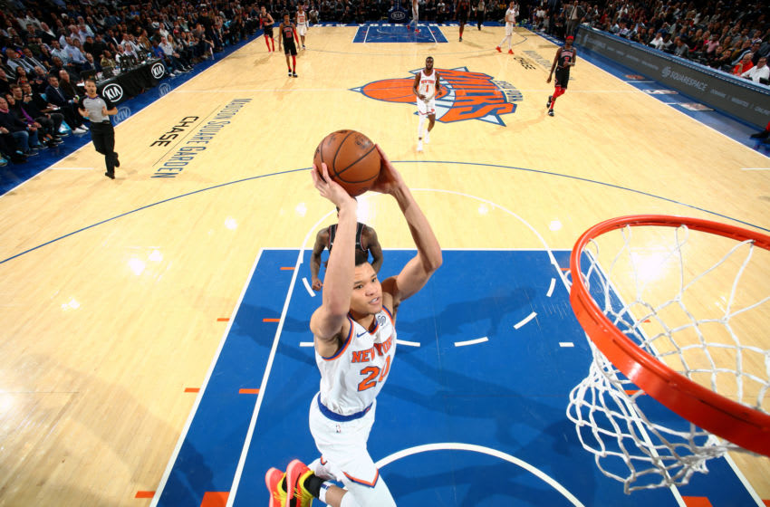 NEW YORK, NY - NOVEMBER 5: Kevin Knox #20 of the New York Knicks dunks the ball against the Chicago Bulls on November 5, 2018 at Madison Square Garden in New York City, New York. NOTE TO USER: User expressly acknowledges and agrees that, by downloading and/or using this photograph, user is consenting to the terms and conditions of the Getty Images License Agreement. Mandatory Copyright Notice: Copyright 2018 NBAE (Photo by Nathaniel S. Butler/NBAE via Getty Images)