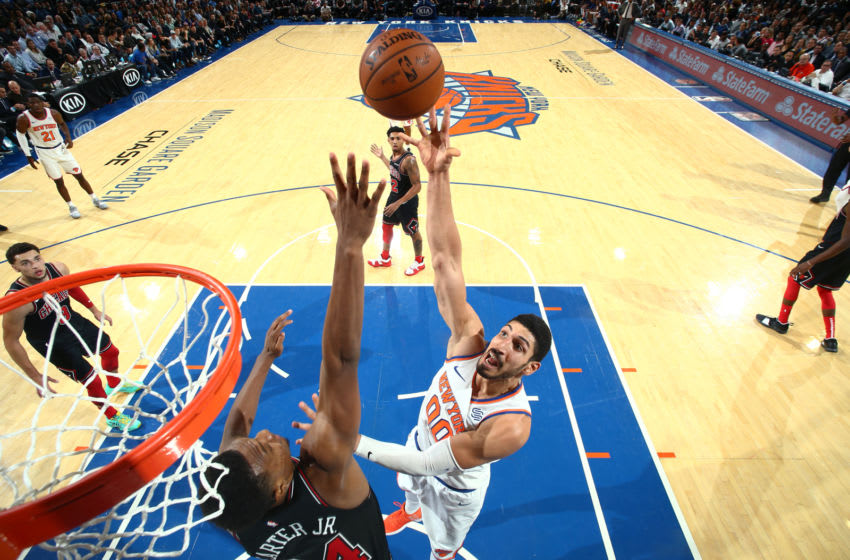 NEW YORK, NY - NOVEMBER 5: Enes Kanter #00 of the New York Knicks shoots the ball against the Chicago Bulls on November 5, 2018 at Madison Square Garden in New York City, New York. NOTE TO USER: User expressly acknowledges and agrees that, by downloading and/or using this photograph, user is consenting to the terms and conditions of the Getty Images License Agreement. Mandatory Copyright Notice: Copyright 2018 NBAE (Photo by Nathaniel S. Butler/NBAE via Getty Images)
