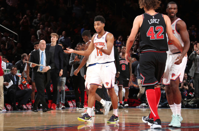 NEW YORK, NY - NOVEMBER 5: Allonzo Trier #14 of the New York Knicks reacts to a play during the game against the Chicago Bulls on November 5, 2018 at Madison Square Garden in New York City, New York. NOTE TO USER: User expressly acknowledges and agrees that, by downloading and/or using this photograph, user is consenting to the terms and conditions of the Getty Images License Agreement. Mandatory Copyright Notice: Copyright 2018 NBAE (Photo by Nathaniel S. Butler/NBAE via Getty Images)