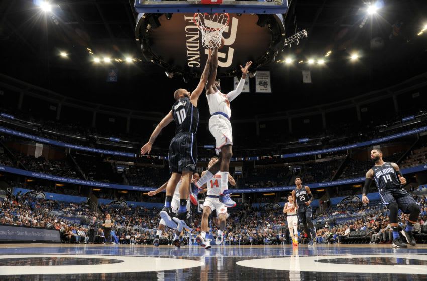 ORLANDO, FL - NOVEMBER 18: Tim Hardaway Jr. #3 of the New York Knicks drives to the basket during the game against Evan Fournier #10 of the Orlando Magic on November 18, 2018 at Amway Center in Orlando, Florida. NOTE TO USER: User expressly acknowledges and agrees that, by downloading and or using this photograph, User is consenting to the terms and conditions of the Getty Images License Agreement. Mandatory Copyright Notice: Copyright 2018 NBAE (Photo by Fernando Medina/NBAE via Getty Images)