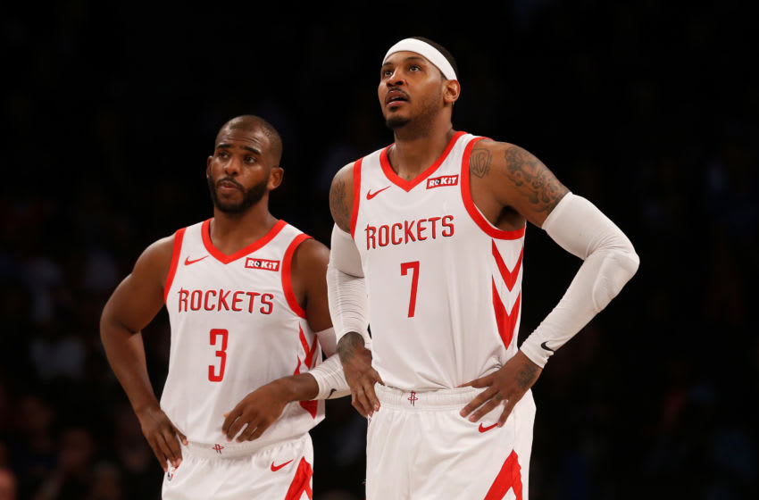 BROOKLYN, NY - NOVEMBER 02: (NEW YORK DAILIES OUT) Carmelo Anthony #7 and Chris Paul #3 of the Houston Rockets in action against the Brooklyn Nets at Barclays Center on November 2, 2018 in the Brooklyn borough of New York City. The Rockets defeated the Nets 119-111. (Photo by Jim McIsaac/Getty Images)