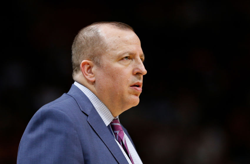 MIAMI, FL - DECEMBER 30: Head coach Tom Thibodeau of the Minnesota Timberwolves looks on against the Miami Heat at American Airlines Arena on December 30, 2018 in Miami, Florida. NOTE TO USER: User expressly acknowledges and agrees that, by downloading and or using this photograph, User is consenting to the terms and conditions of the Getty Images License Agreement. (Photo by Michael Reaves/Getty Images)