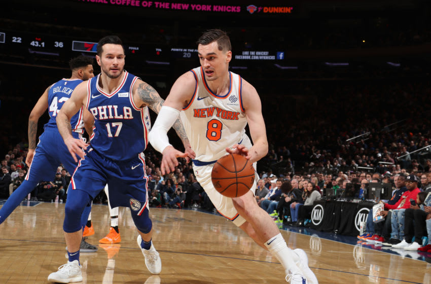 NEW YORK, NY - JANUARY 13: Mario Hezonja #8 of the New York Knicks handles the ball against the Philadelphia 76ers on January 13, 2019 at Madison Square Garden in New York City, New York. NOTE TO USER: User expressly acknowledges and agrees that, by downloading and or using this photograph, User is consenting to the terms and conditions of the Getty Images License Agreement. Mandatory Copyright Notice: Copyright 2019 NBAE (Photo by Nathaniel S. Butler/NBAE via Getty Images)
