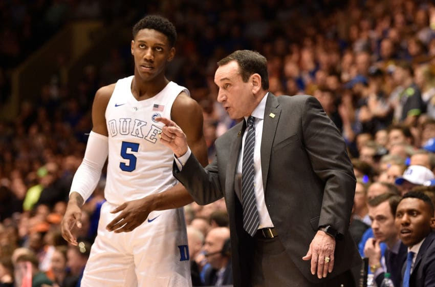 DURHAM, NORTH CAROLINA - JANUARY 19: Head coach Mike Krzyzewski talks with RJ Barrett #5 of the Duke Blue Devils during their game against the Virginia Cavaliers at Cameron Indoor Stadium on January 19, 2019 in Durham, North Carolina. Duke won 72-70. (Photo by Grant Halverson/Getty Images)