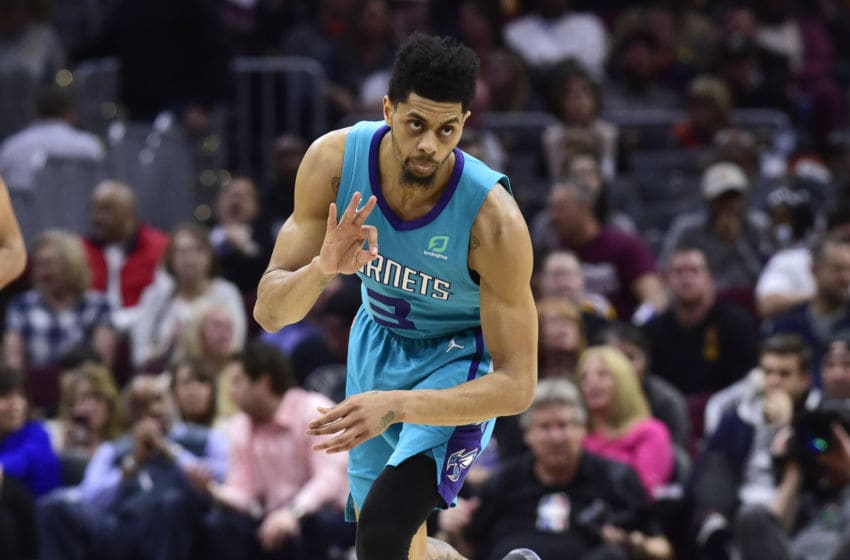 CLEVELAND, OHIO - APRIL 09: Jeremy Lamb #3 of the Charlotte Hornets celebrates after scoring against the Cleveland Cavaliers during the second half at Rocket Mortgage FieldHouse on April 09, 2019 in Cleveland, Ohio. The Hornets defeated the Cavaliers 124-97. NOTE TO USER: User expressly acknowledges and agrees that, by downloading and or using this photograph, User is consenting to the terms and conditions of the Getty Images License Agreement. (Photo by Jason Miller/Getty Images)