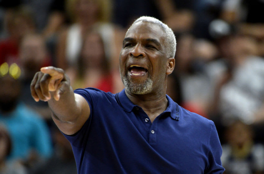 SALT LAKE CITY, UTAH - JULY 27: Head coach Charles Oakley of Killer 3s yells to his team as they play in the game against 3's Company during week six of the BIG3 three on three basketball league at Vivint Smart Home Arena on July 27, 2019 in Salt Lake City, Utah. (Photo by Alex Goodlett/BIG3 via Getty Images)