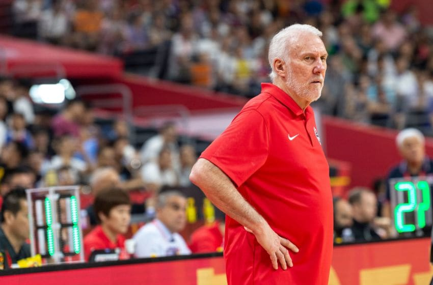 USA coach Gregg Popovich reacts during the Basketball World Cup classification game between the USA and Serbia in Dongguan on September 12, 2019. (Photo by Jayne Russell / AFP) (Photo credit should read JAYNE RUSSELL/AFP/Getty Images)