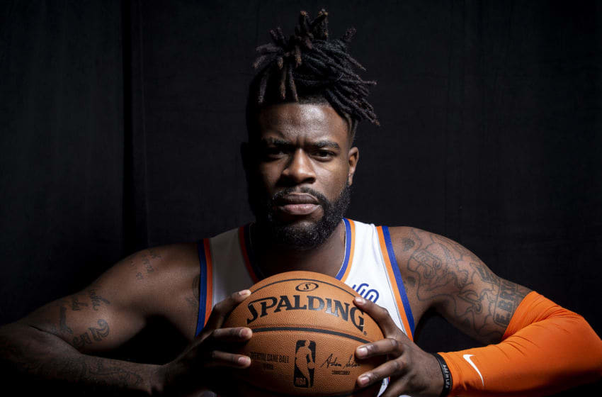 TARRYTOWN, NY - SEPTEMBER 30: Reggie Bullock #25 of the New York Knicks poses for a portrait during media day on September 30, 2019 at the Madison Square Garden Training Center in Tarrytown, New York. NOTE TO USER: User expressly acknowledges and agrees that, by downloading and/or using this photograph, user is consenting to the terms and conditions of the Getty Images License Agreement. Mandatory Copyright Notice: Copyright 2019 NBAE (Photo by Michelle Farsi/NBAE via Getty Images)