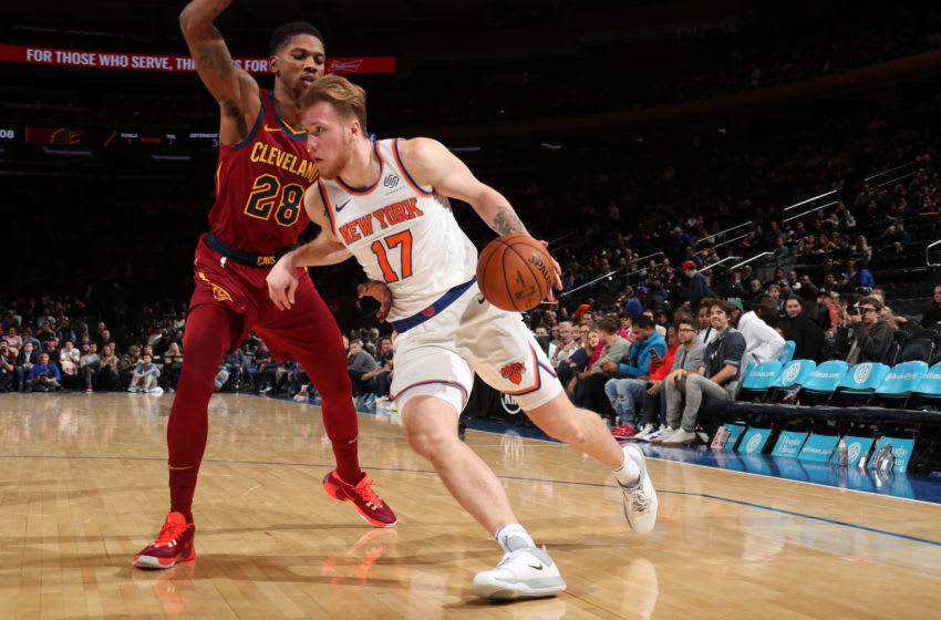 NEW YORK, NY - NOVEMBER 10: Ignas Brazdeikis #17 of the New York Knicks handles the ball against the Cleveland Cavaliers on November 10, 2019 at Madison Square Garden in New York City, New York. NOTE TO USER: User expressly acknowledges and agrees that, by downloading and or using this photograph, User is consenting to the terms and conditions of the Getty Images License Agreement. Mandatory Copyright Notice: Copyright 2019 NBAE (Photo by Nathaniel S. Butler/NBAE via Getty Images)