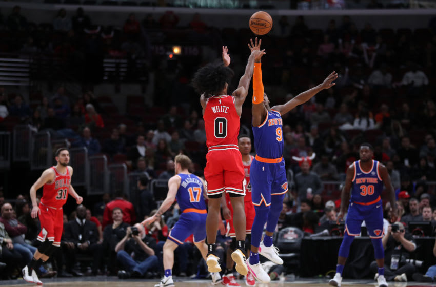 The Chicago Bulls' Coby White (0) sinks a 3-pointer in the fourth quarter against the New York Knicks at the United Center in Chicago on Tuesday, Nov. 12, 2019. The Bulls won, 120-102. (Chris Sweda/Chicago Tribune/Tribune News Service via Getty Images)