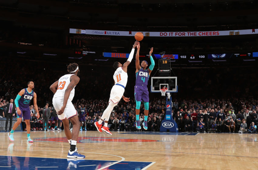 NEW YORK, NY - NOVEMBER 16: Devonte' Graham #4 of the Charlotte Hornets shoots the game winning shot against the New York Knicks on November 16, 2019 at Madison Square Garden in New York City, New York. NOTE TO USER: User expressly acknowledges and agrees that, by downloading and or using this photograph, User is consenting to the terms and conditions of the Getty Images License Agreement. Mandatory Copyright Notice: Copyright 2019 NBAE (Photo by Nathaniel S. Butler/NBAE via Getty Images)