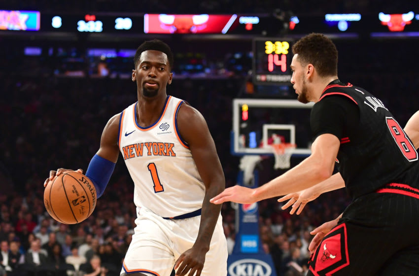 NEW YORK, NEW YORK - OCTOBER 28: Bobby Portis #1 of the New York Knicks brings the ball up court against Zach LaVine #8 of the Chicago Bulls in the first half at Madison Square Garden on October 28, 2019 in New York City. NOTE TO USER: User expressly acknowledges and agrees that, by downloading and or using this Photograph, user is consenting to the terms and conditions of the Getty Images License Agreement. (Photo by Emilee Chinn/Getty Images)