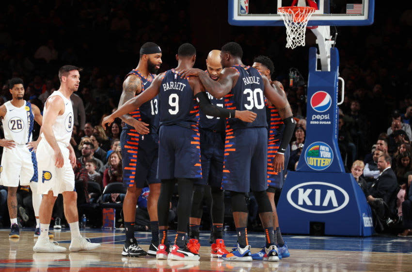 NEW YORK, NY - DECEMBER 7: Players of the New York Knicks huddle up during a game against the Indiana Pacers on December 7, 2019 at Madison Square Garden in New York City, New York. NOTE TO USER: User expressly acknowledges and agrees that, by downloading and or using this photograph, User is consenting to the terms and conditions of the Getty Images License Agreement. Mandatory Copyright Notice: Copyright 2019 NBAE (Photo by Nathaniel S. Butler/NBAE via Getty Images)