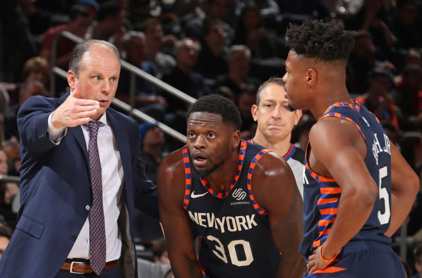 NEW YORK, NY - DECEMBER 7: Mike Miller coaches Julius Randle #30 and Dennis Smith Jr. #5 of the New York Knicks during the game against the Indiana Pacers on December 7, 2019 at Madison Square Garden in New York City, New York. NOTE TO USER: User expressly acknowledges and agrees that, by downloading and or using this photograph, User is consenting to the terms and conditions of the Getty Images License Agreement. Mandatory Copyright Notice: Copyright 2019 NBAE (Photo by Nathaniel S. Butler/NBAE via Getty Images)