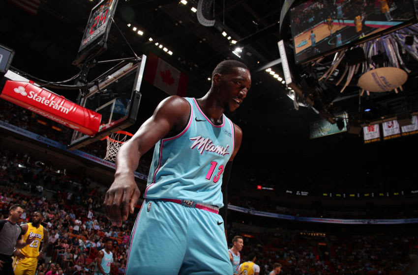 MIAMI, FL - DECEMBER 13: Bam Adebayo #13 of the Miami Heat smiles during the game against the Los Angeles Lakerson December 13 , 2019 at American Airlines Arena in Miami, Florida. NOTE TO USER: User expressly acknowledges and agrees that, by downloading and or using this Photograph, user is consenting to the terms and conditions of the Getty Images License Agreement. Mandatory Copyright Notice: Copyright 2019 NBAE (Photo by Issac Baldizon/NBAE via Getty Images)