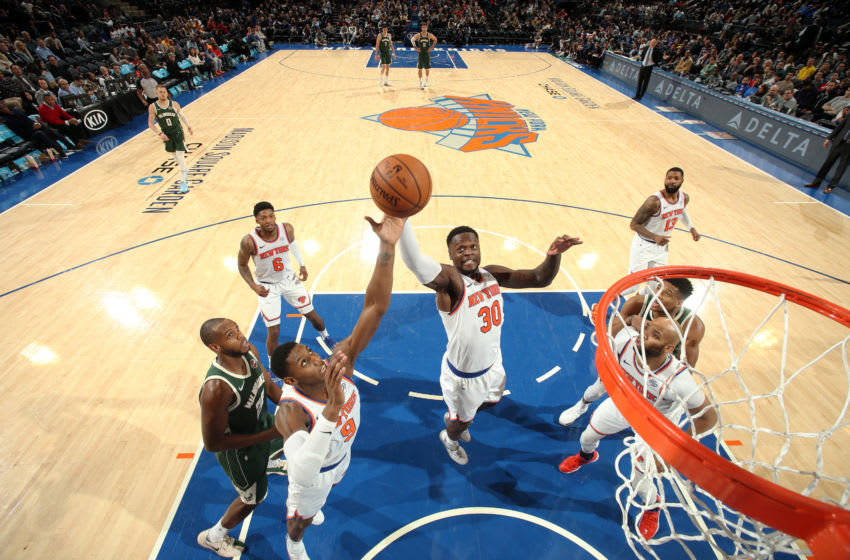 NEW YORK, NY - DECEMBER 21: Julius Randle #30 of the New York Knicks reaches for the ball during the game against the Milwaukee Bucks on December 21, 2019 at Madison Square Garden in New York City, New York. NOTE TO USER: User expressly acknowledges and agrees that, by downloading and or using this photograph, User is consenting to the terms and conditions of the Getty Images License Agreement. Mandatory Copyright Notice: Copyright 2019 NBAE (Photo by Nathaniel S. Butler/NBAE via Getty Images)