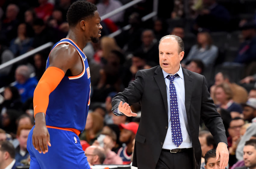 WASHINGTON, DC - DECEMBER 28: Head coach Mike Miller of the New York Knicks celebrates with Julius Randle #30 after a play against the Washington Wizards during the second half at Capital One Arena on December 28, 2019 in Washington, DC. NOTE TO USER: User expressly acknowledges and agrees that, by downloading and or using this photograph, User is consenting to the terms and conditions of the Getty Images License Agreement. (Photo by Will Newton/Getty Images)